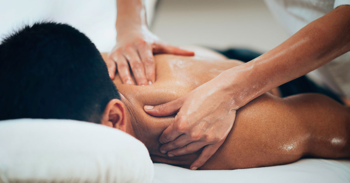 Man getting his neck massaged