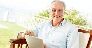 Older man sitting on porch